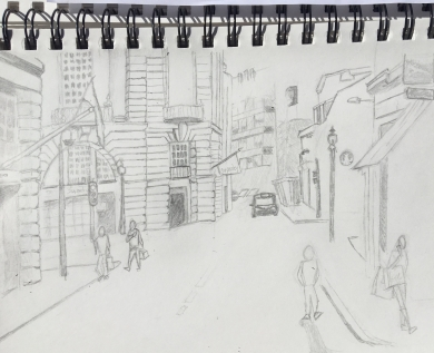 Drawing study of a street